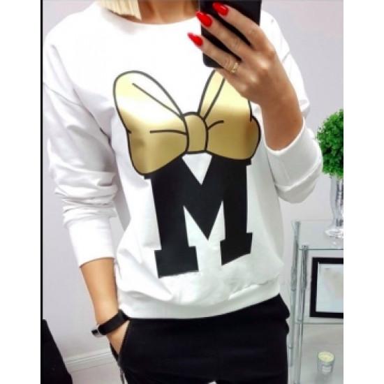 Бяла блузка с Мини Маус