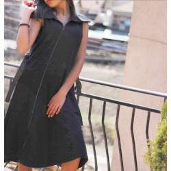 Черна рокля с колан и цип