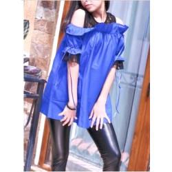 Синя риза с тюл