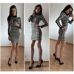 Стилна пепитена рокля