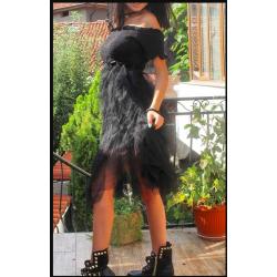 Памучна рокля тюл на етажи