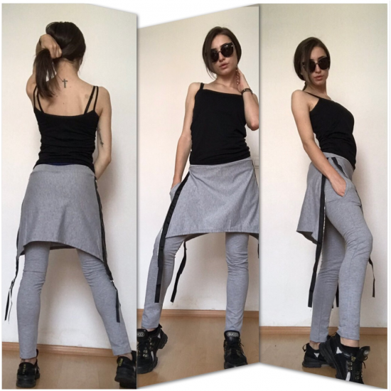 Сива пола-панталон