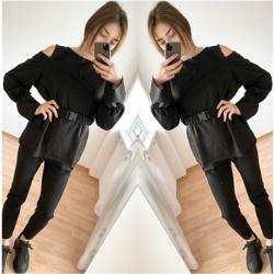 Черен дамски комплект - блуза и панталон