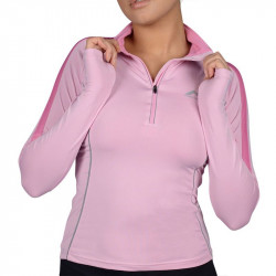 Дамски Суичър MORE MILE Hi-Viz Half Zip Long Sleeve Ladies Running Top