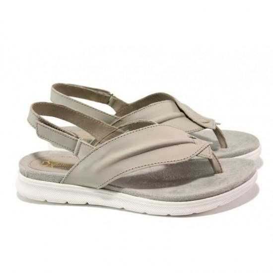 7e42ca69c22 Анатомични български сандали от естествена кожа ГР 48012 сив | Равни дамски  сандали