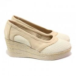 Анатомични български обувки от естествена кожа НЛ 303-96145 сахара | Дамски обувки на платформа