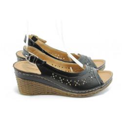 Дамски анатомични сандали на платформа Jump 5250 черни