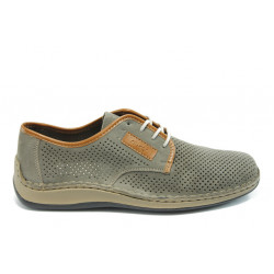 Мъжки обувки с перфорация Rieker 05206-42 сиво