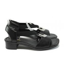 Дамски сандали от естествена кожа Rieker 62662-01 черен ANTISTRESS