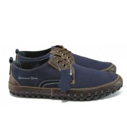 Анатомични български обувки от естествен набук МЙ 83353 син