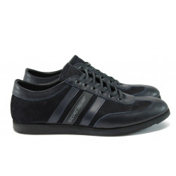 Мъжки спортни обувки от естествена кожа МИ 64 черен-син
