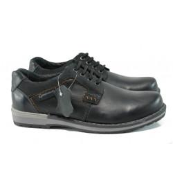 Анатомични български обувки от естествена кожа МЙ 83325 черен | Мъжки ежедневни обувки