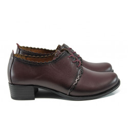 Анатомични дамски обувки на среден ток от естествена кожа МИ 174 бордо кожа | Дамски обувки на среден ток