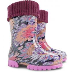 Детски гумени ботуши с топъл свалящ се чорап Demar 0038 паун 20/27 | Гумени ботуши