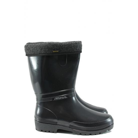 Гумени ботуши с топъл свалящ се чорап Demar 0052 черен 36/41   Гумени ботуши