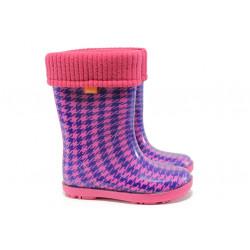 Детски гумени ботуши с топъл свалящ се чорап Demar 0049 розов 28/35 | Гумени ботуши