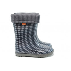 Детски гумени ботуши с топъл свалящ се чорап Demar 0049 черен 28/35 | Гумени ботуши