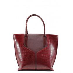 Българска дамска чанта с кроко мотив СБ 1188 бордо кроко | Дамска чанта