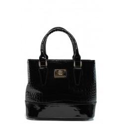Българска лачена чанта СБ 1194 черен кроко | Дамска чанта