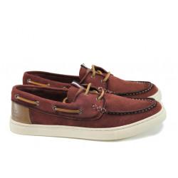 Летни мъжки обувки от естествен набук S.Oliver 5-13608-28 бордо | Мъжки немски обувки