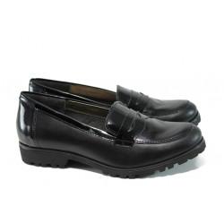Български ортопедични дамски обувки от естествена кожа ГР 20001 черен | Равни дамски обувки