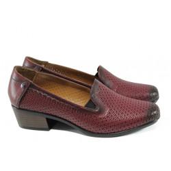 Анатомични дамски обувки от естествена кожа МИ 03-510 бордо кожа | Дамски обувки на ток