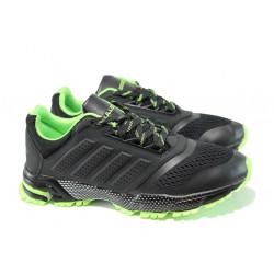 Летни юношески маратонки с класическо ходило Bulldozer 71270 черен-зелен | Летни маратонки