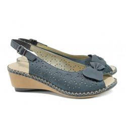Ортопедични дамски сандали от естествена кожа Rieker 66178-14 син | Немски сандали на ток