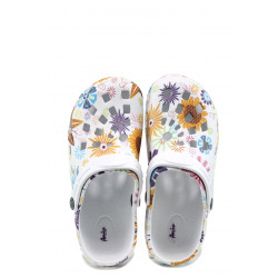 Детски чехли-сандали тип крокс АБ 2892 бял-слънчоглед 30/35   Детски гумени чехли