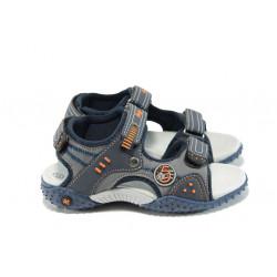 Анатомични детски сандали с лепенка АБ 1614 т.син 26/30 | Детски чехли и сандали