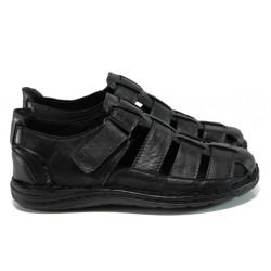 Мъжки ортопедични сандали от естествена кожа МИ 205-4391 черен | Мъжки чехли и сандали