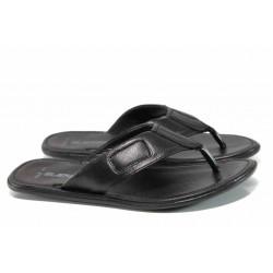 Анатомични мъжки чехли от естествена кожа МИ 642-100 черен | Мъжки чехли и сандали
