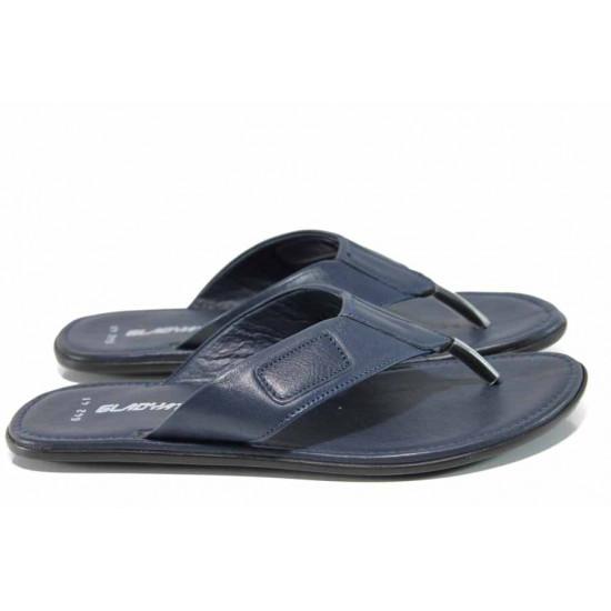 Анатомични мъжки чехли от естествена кожа МИ 642-100 син | Мъжки чехли и сандали