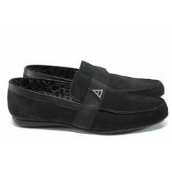 Мъжки мокасини от естествен набук Jump 11251 черен | Мъжки ежедневни обувки