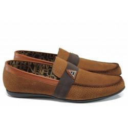 Мъжки мокасини от естествен набук Jump 11251 кафяв | Мъжки ежедневни обувки