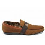 Мъжки мокасини от естествен набук Jump 11251 кафяв   Мъжки ежедневни обувки
