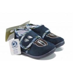 Анатомични домашни пантофи с лепенки ДФ PESCARA K200 син 19/30 | Домашни чехли и пантофи