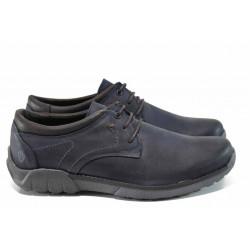Анатомични български обувки от естествена кожа МЙ 83336 син   Мъжки ежедневни обувки