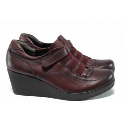 Дамски ортопедични обувки от естествена кожа МИ 614 бордо | Дамски обувки на платформа