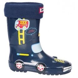 Детски гумени ботуши с топъл свалящ се чорап АБ KAL-22 син кола 27/31 | Гумени ботуши