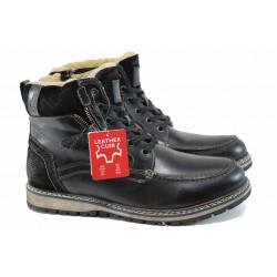 Мъжки боти от естествена кожа и топъл хастар S.Oliver 5-16214-29 черен | Немски мъжки обувки