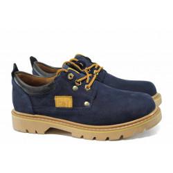 Анатомични мъжки обувки от естествен набук МИ 034 син | Мъжки ежедневни обувки