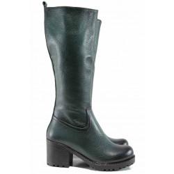Дамски ботуши от естествена кожа МИ 96 зелен | Дамски ботуши с топъл хастар