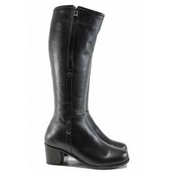 Дамски ботуши от естествена кожа МИ 825 черен | Дамски ботуши с топъл хастар