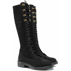 Български дамски ботуши от естествен набук за XS крак ИЗ 16214-060 черен | Дамски ботуши с топъл хастар
