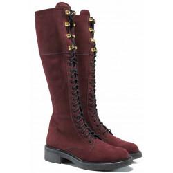 Български дамски ботуши от естествен набук за XS крак ИЗ 16214-060 бордо | Дамски ботуши с топъл хастар
