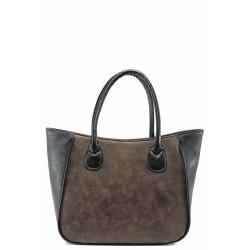 Българска дамска чанта СБ 1218 кафяв-черен | Дамски чанти