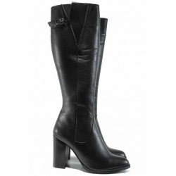 Дамски елегантни ботуши от естествена кожа МИ 187 черен | Дамски ботуши с топъл хастар