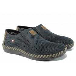 Мъжки обувки от естествен набук Rieker 2455-14 т.син ANTISTRESS | Мъжки немски обувки