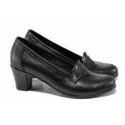 Анатомични български дамски обувки от естествена кожа НЛ 282-1705 черен лак | Дамски обувки на среден ток